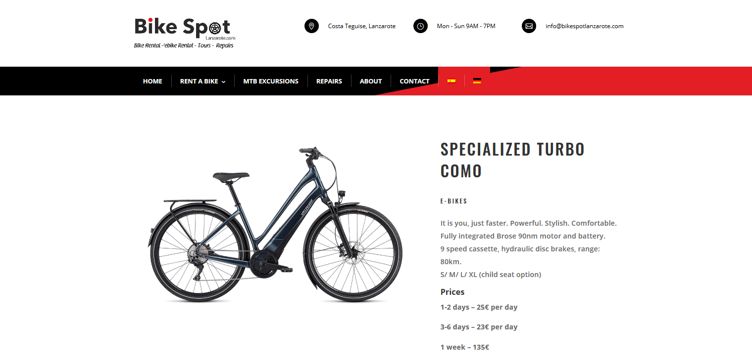 Specialized Turbo Como Bike Spot Lanzarote